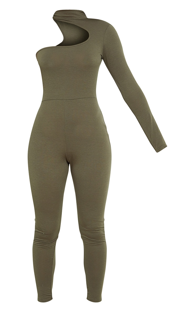 Khaki Asymmetric High Neck Jumpsuit 5