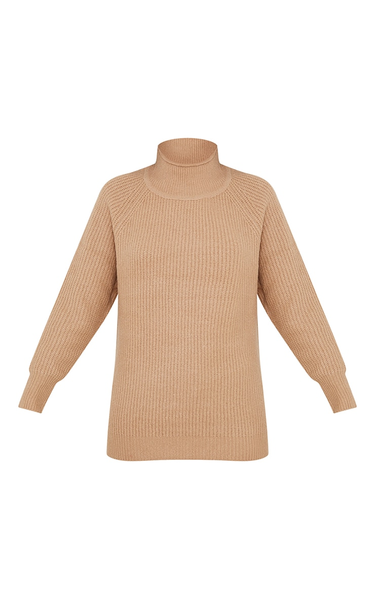Camel Balloon Sleeve Longline Knitted Sweater 5