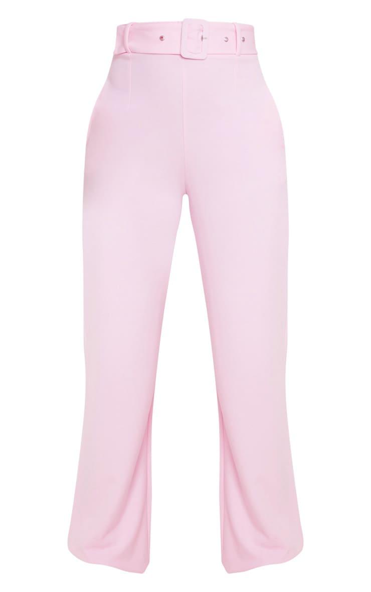 Pantalon jambes évasées rose à détail ceinture 3
