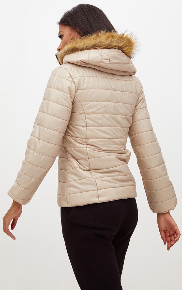 Stone Faux Fur Hooded Puffer Jacket 2