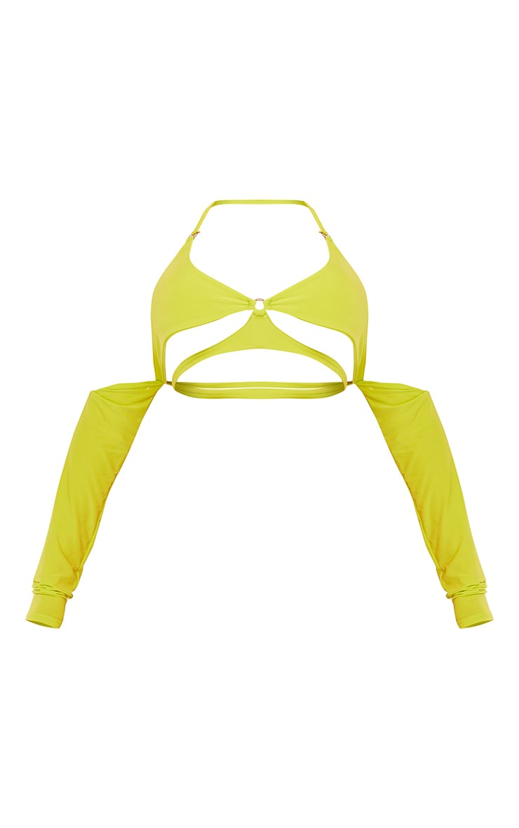 Shape Lime Slinky Ring Detail Long Sleeve Crop Top 5