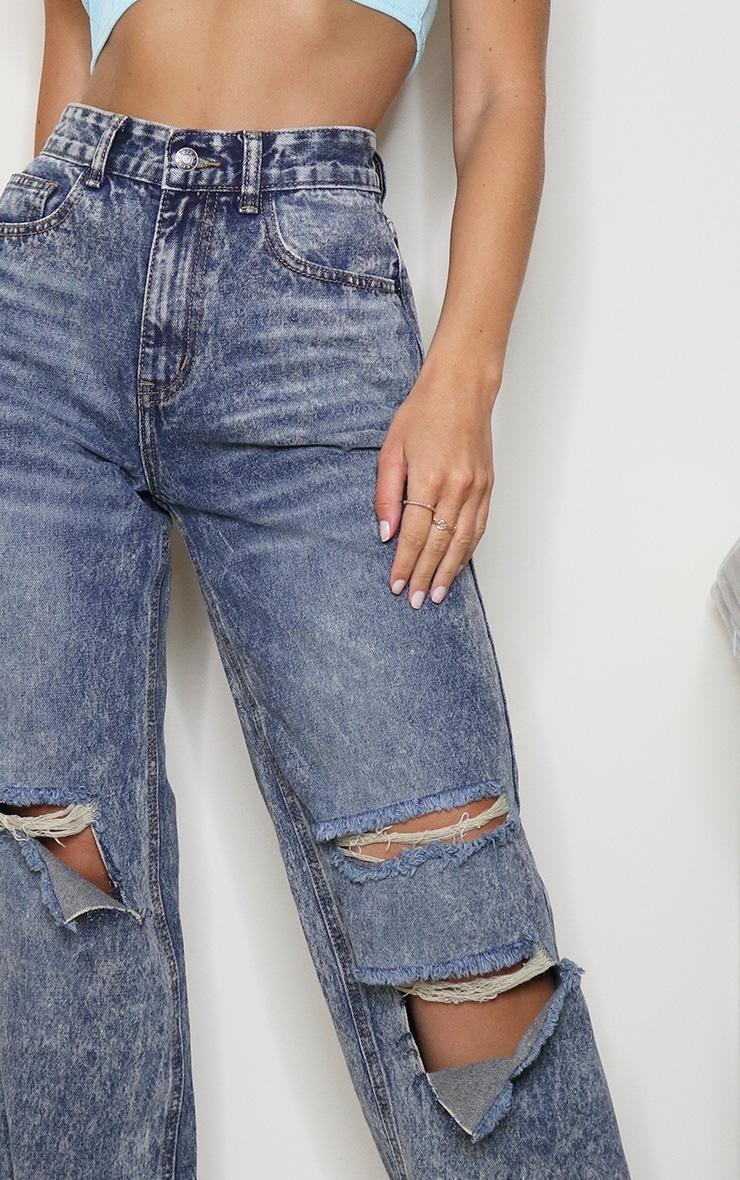 Acid Blue Baggy Low Rise Distressed Boyfriend Jeans 4