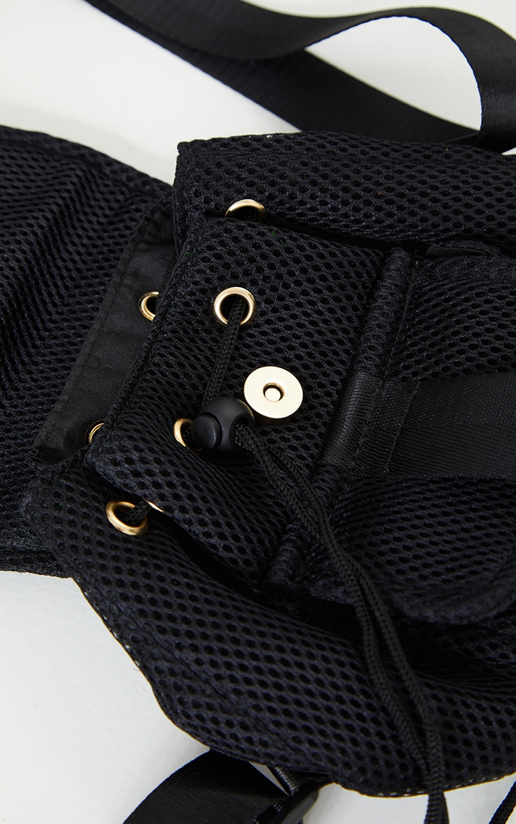 Black Mesh Seatbelt Pocket Mini Backpack 3