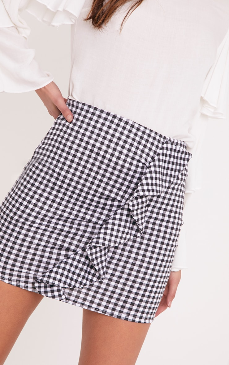 Kiana White Gingham Ruffle Mini Skirt 5
