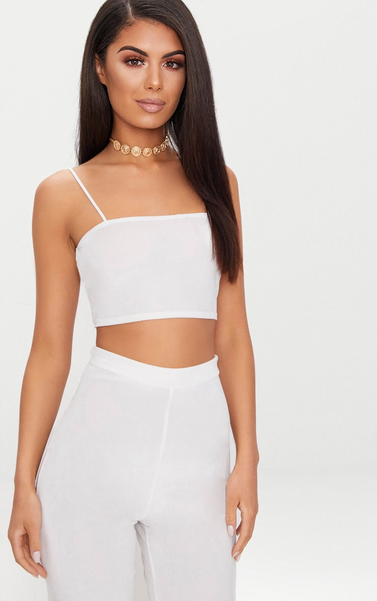 b8ff5985301 Cream Velvet Strappy Crop Top