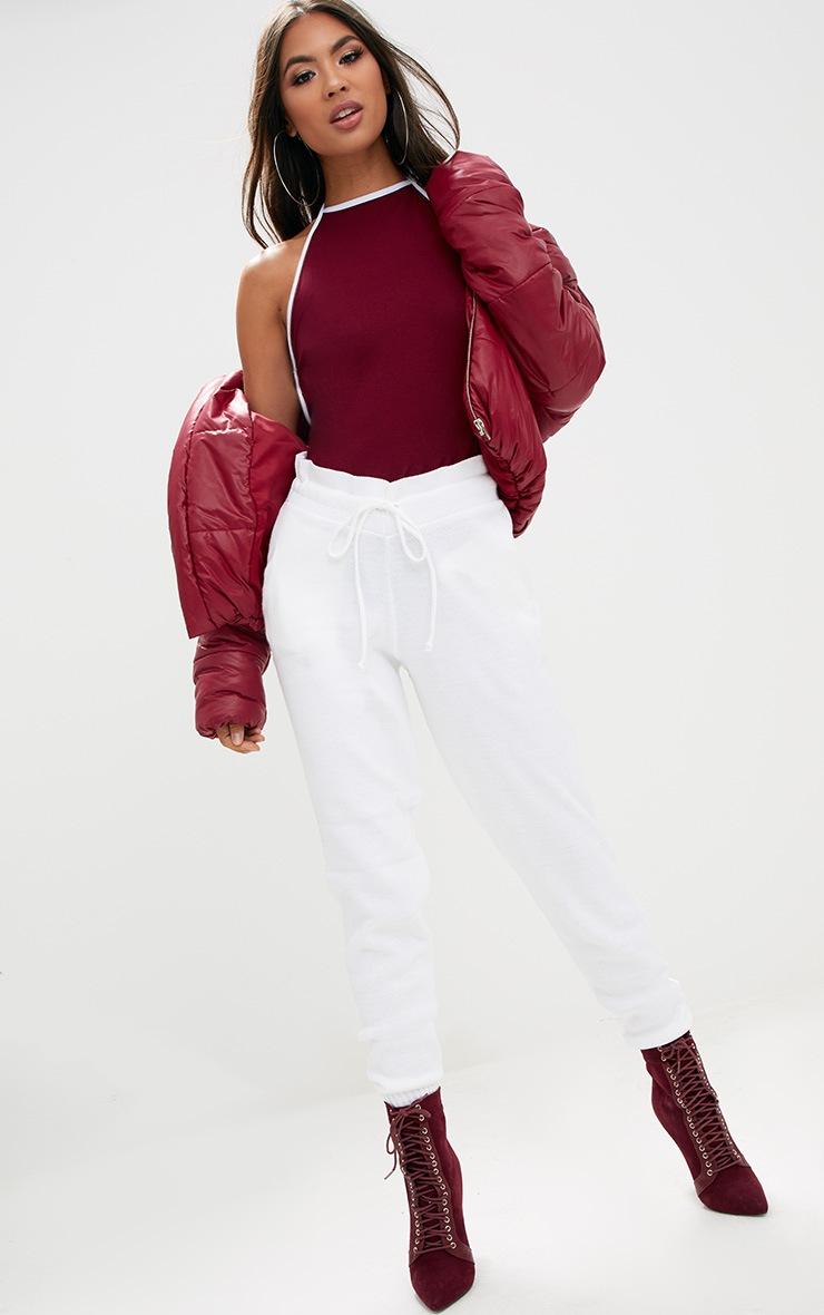 Burgundy Contrast Binding Contrast Bodysuit  5