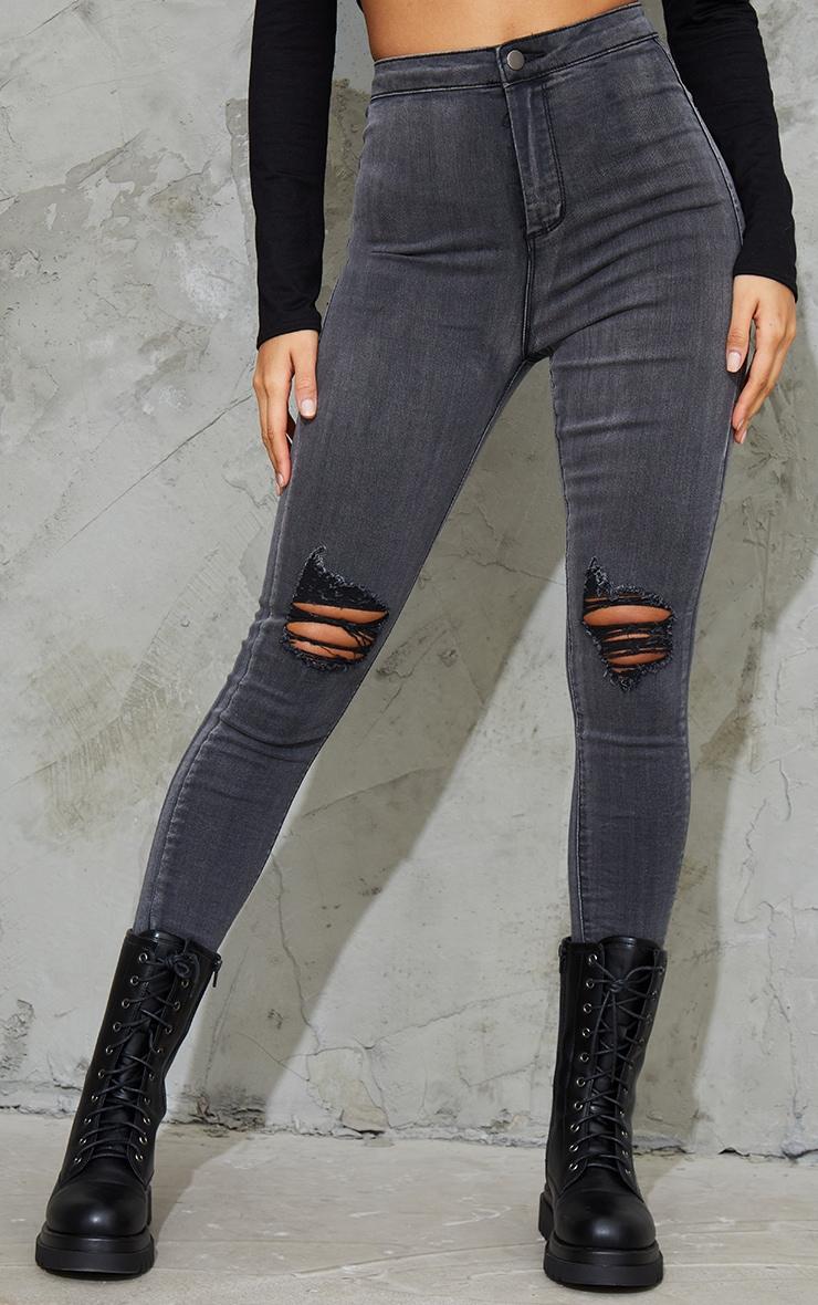 PRETTYLITTLETHING Washed Black Knee Rip Disco Skinny Jean 2