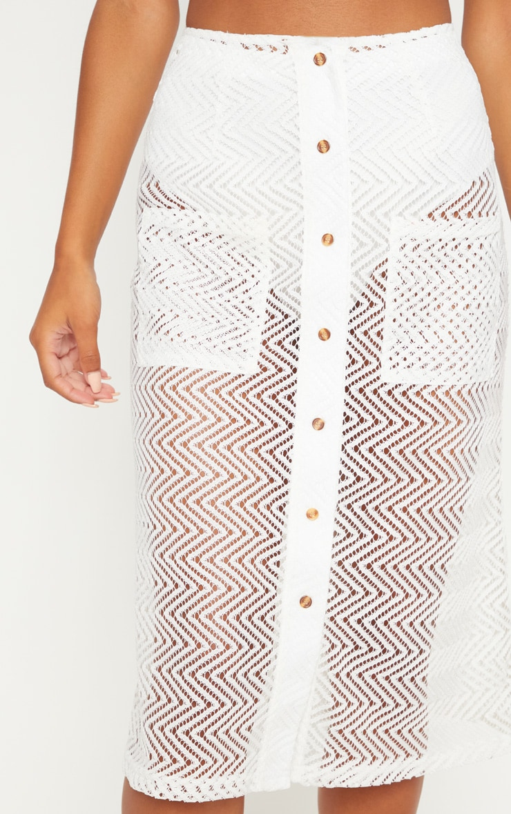White Crochet Button Front Midi Skirt 5