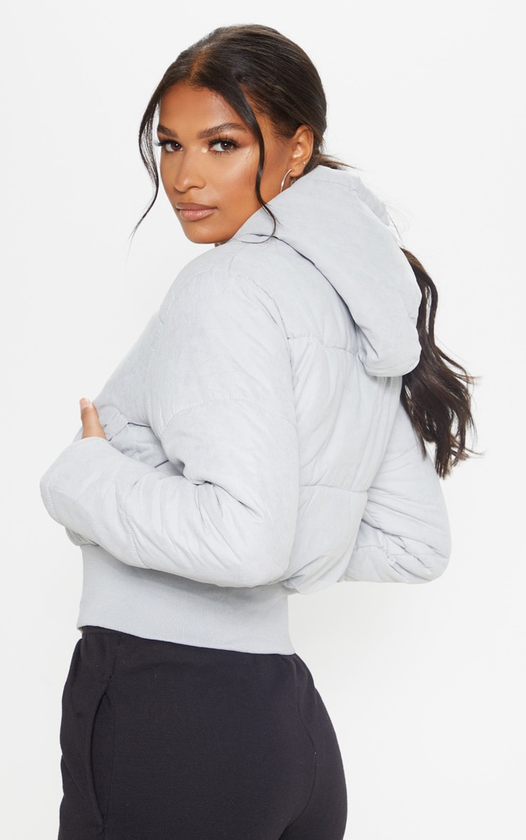 Grey Peach Skin Hooded Puffer Jacket 2