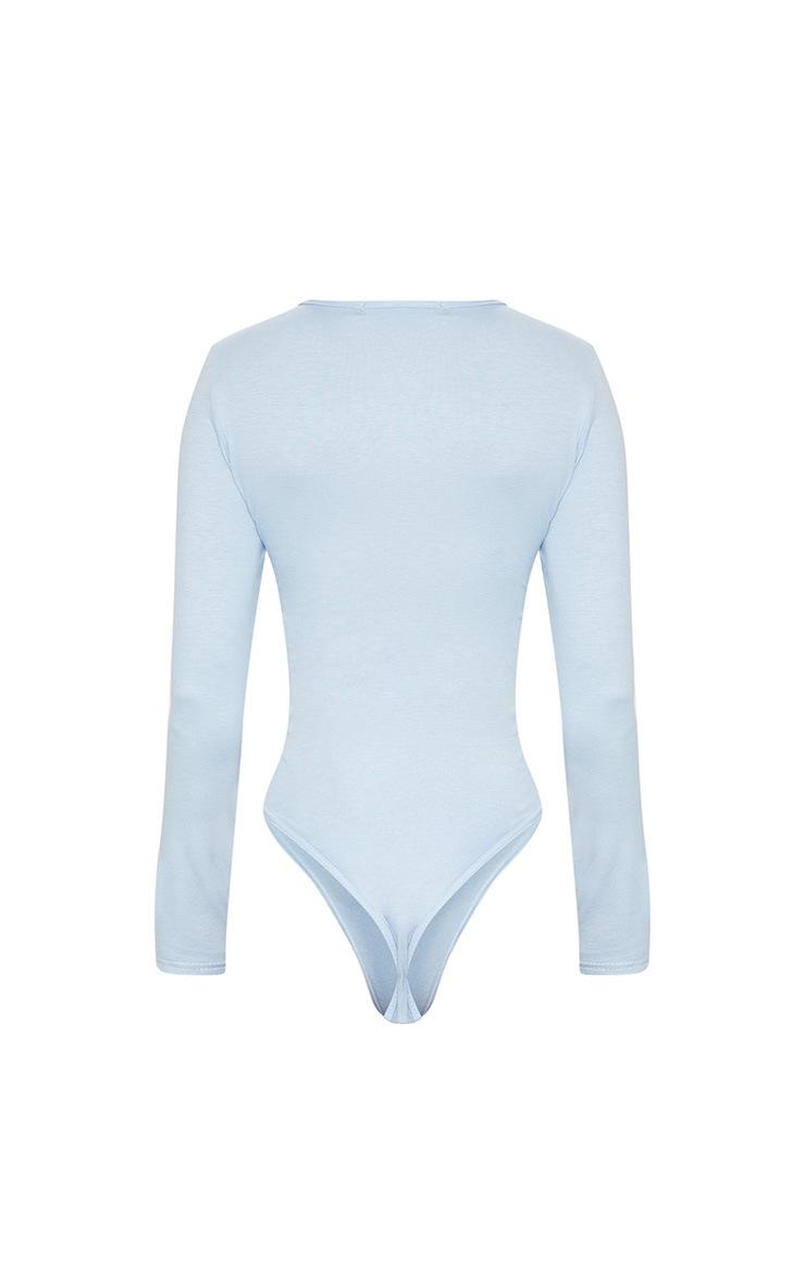 Basic Baby Blue V Neck Long Sleeve Bodysuit 4
