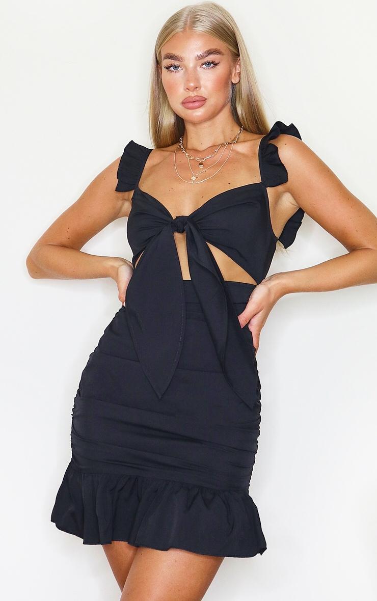 Black Tie Bust Frill Detail Bodycon Dress 1