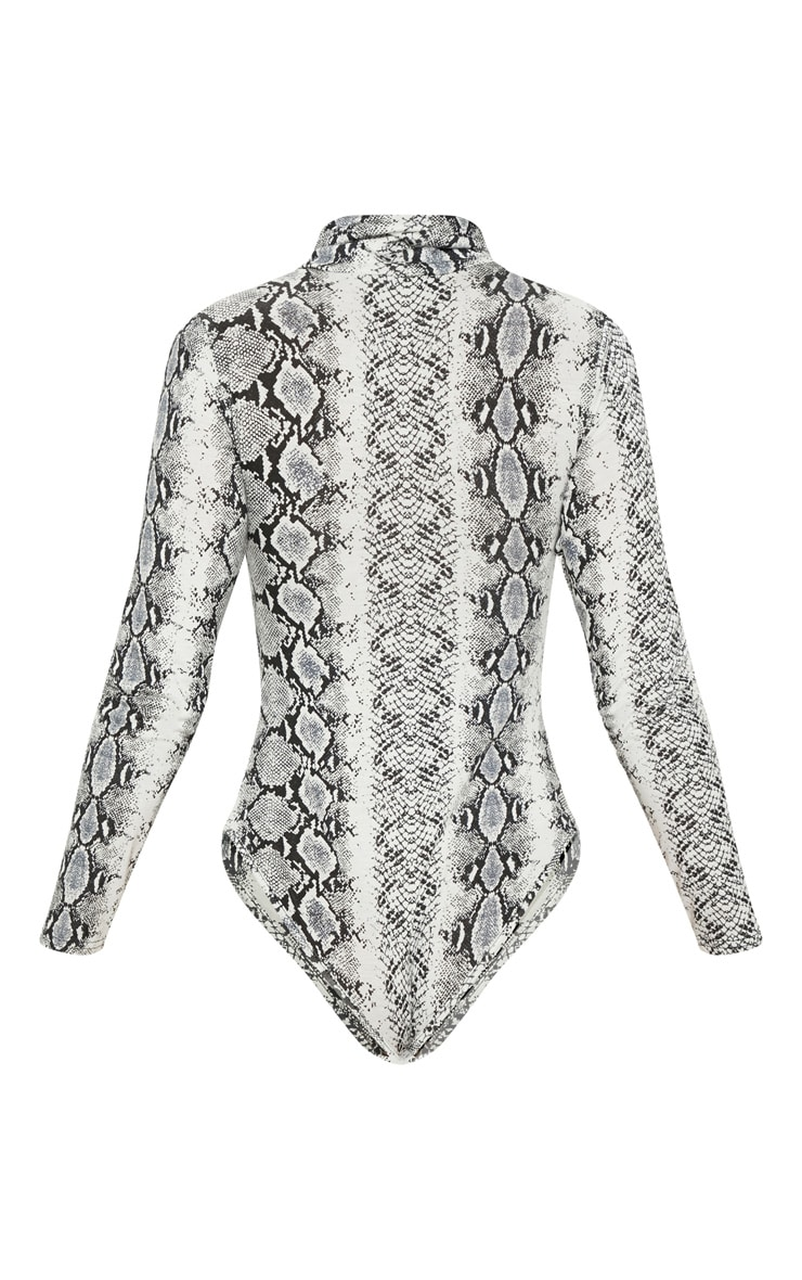 Grey Snake Print Roll Neck Long Sleeve Bodysuit 4