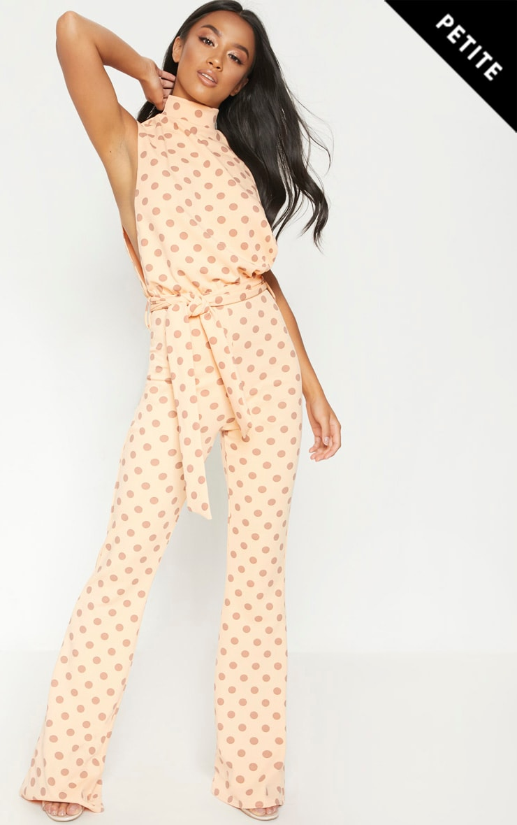 Petite Orange Polka Dot Scuba High Neck Tie Waist Jumpsuit