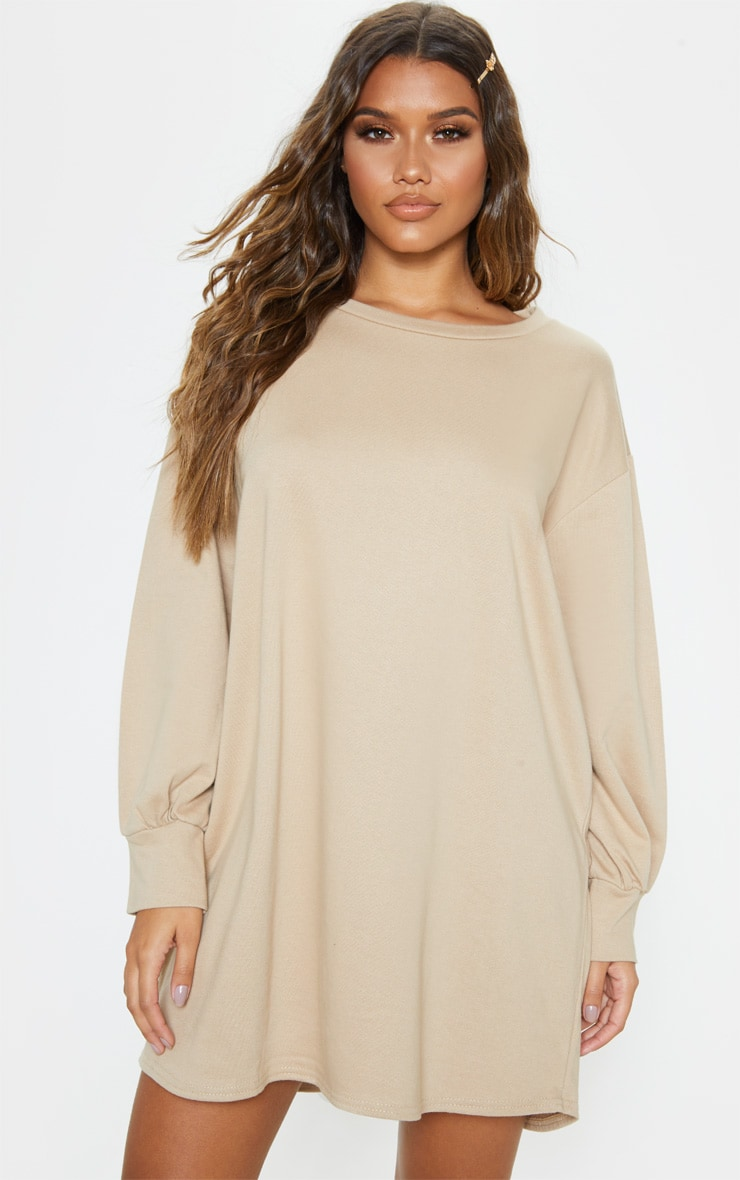 Stone Oversized Jumper Dress 1