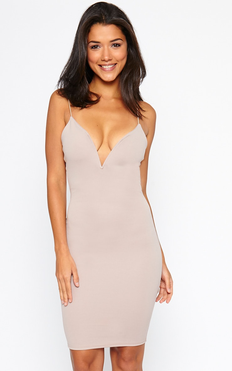 Marisole Mauve Plunge Front V Bar Dress 1