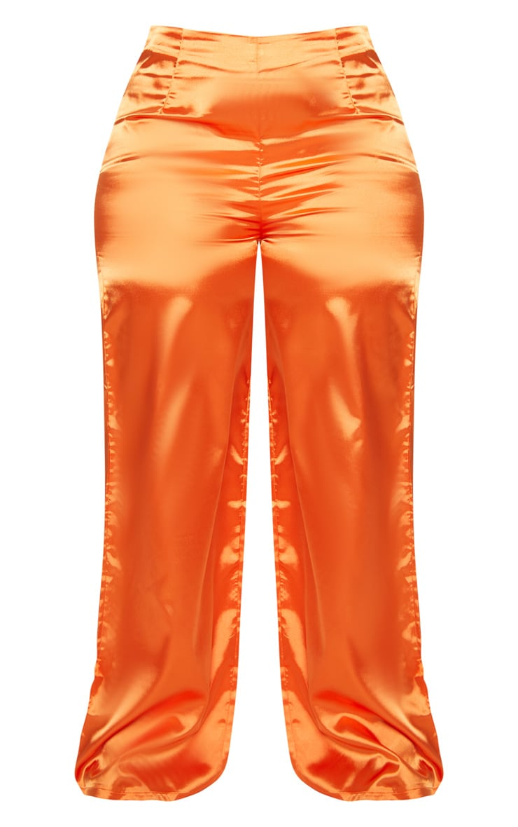 Plus Orange Satin Wide Leg Pants 3
