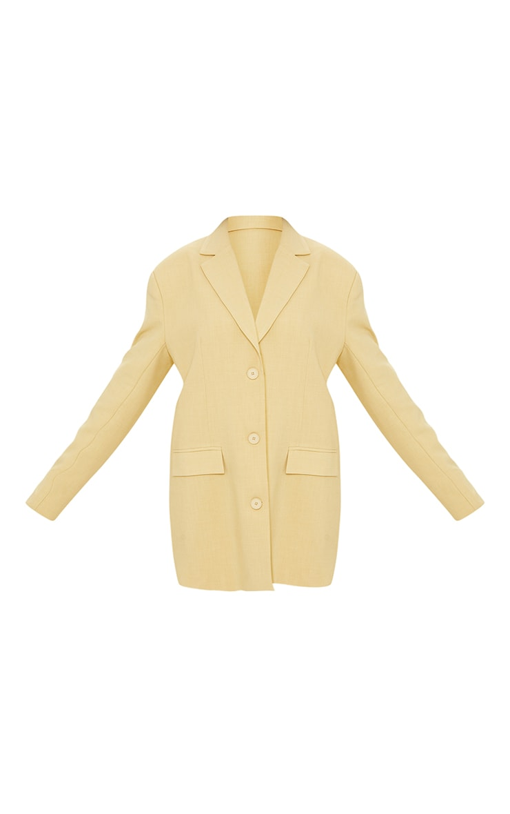 Yellow Premium Woven Shoulder Padded Grandad Blazer 5