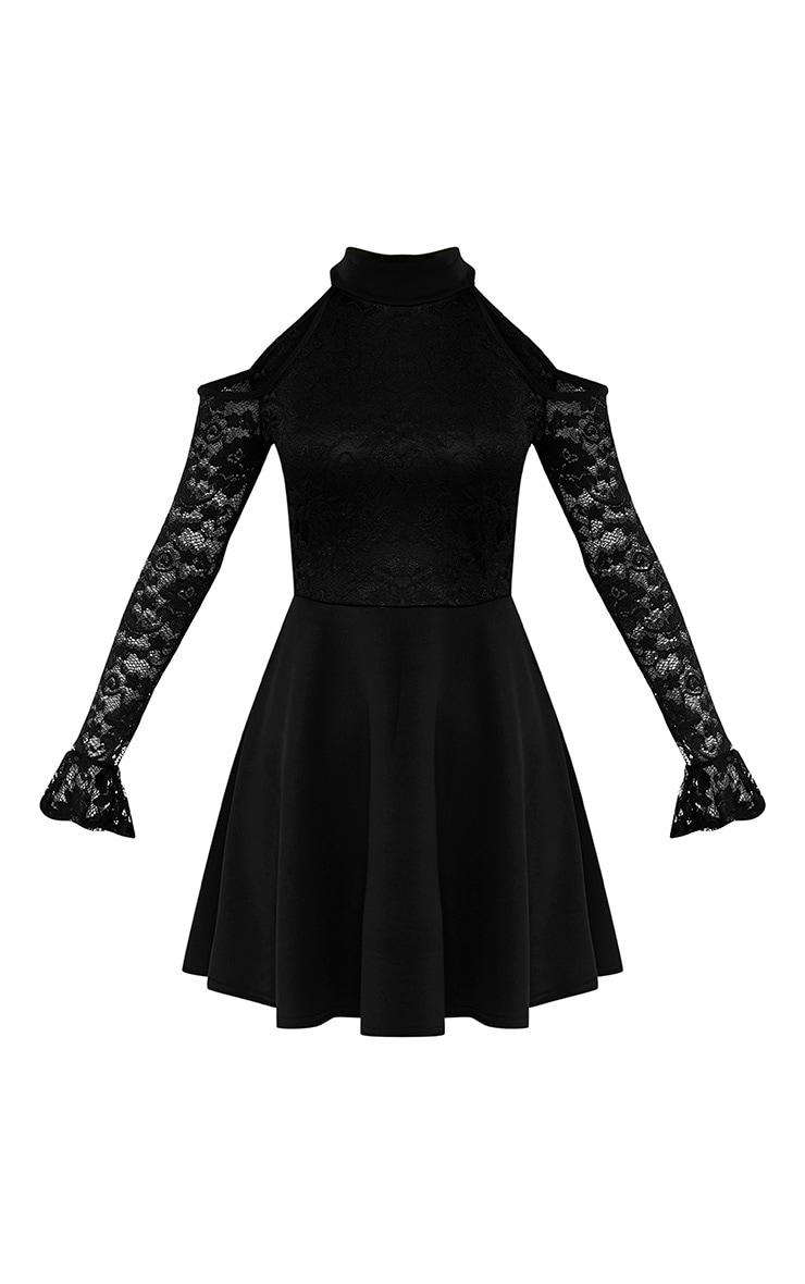 Belindia Black Lace Cold Shoulder Skater Dress 3