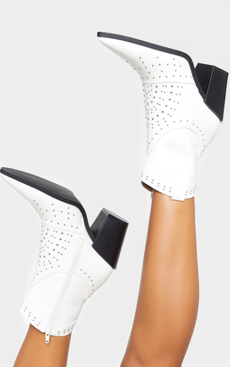 White Point Toe Stud Detail Western Heel Ankle Boot 1