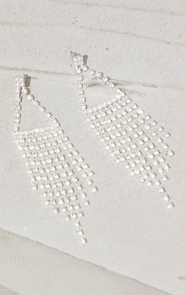 Silver Diamante Triangle Tassle Earrings 2