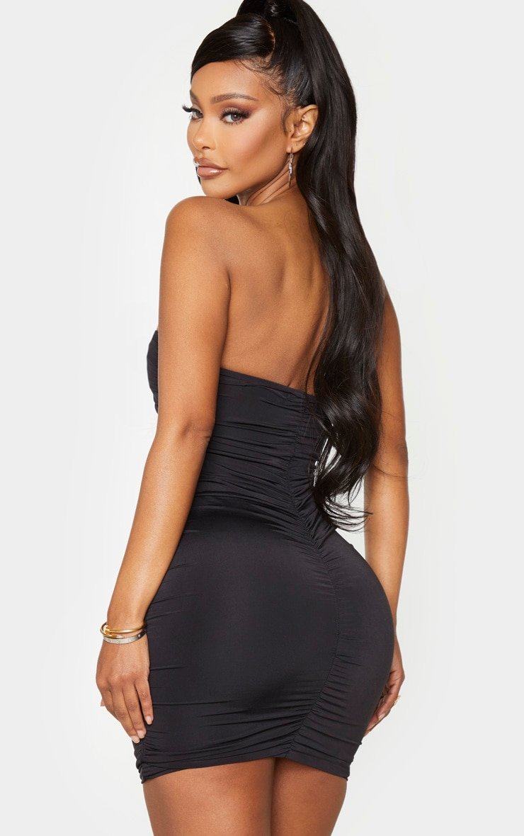 Shape Black Slinky Ring Detail Ruched Bodycon Dress 2