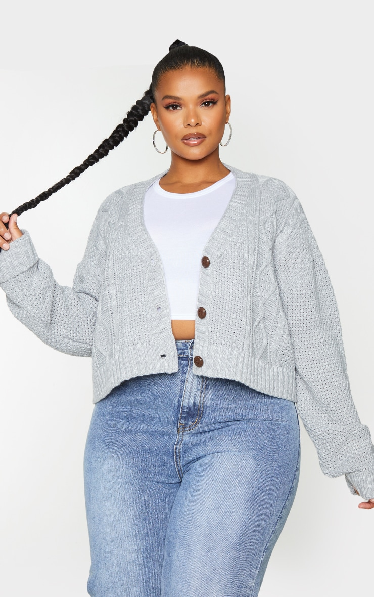 Plus Light Grey Cable Cropped Cardigan 1