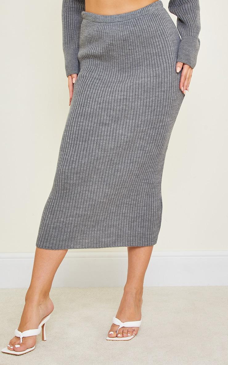 Tall Dark Grey Knitted Midi Skirt 2