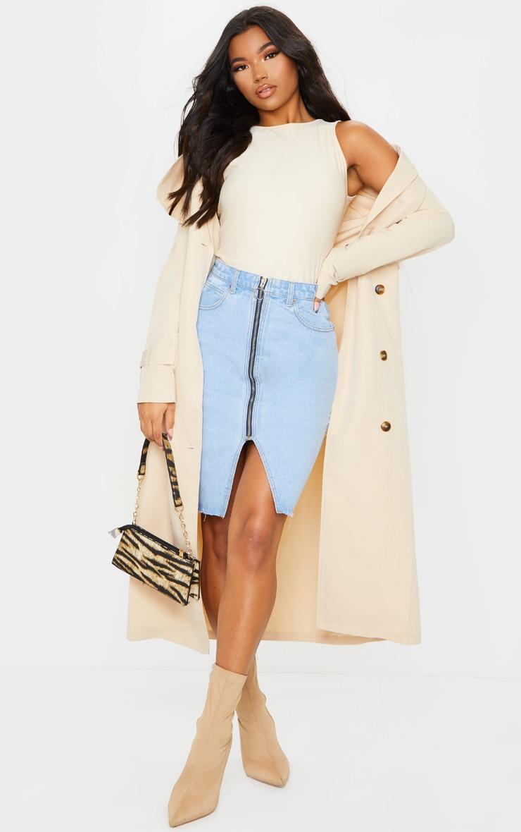 Light Blue Wash Zip Through Slit Denim Midi Skirt 1