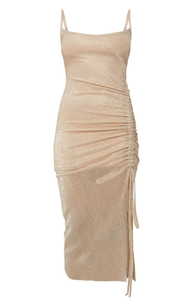 Gold Glitter Plisse Halterneck Ruched Midi Dress 5