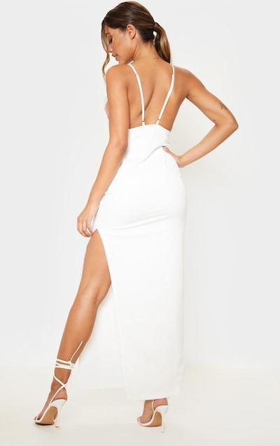 White Strappy Split Maxi Dress