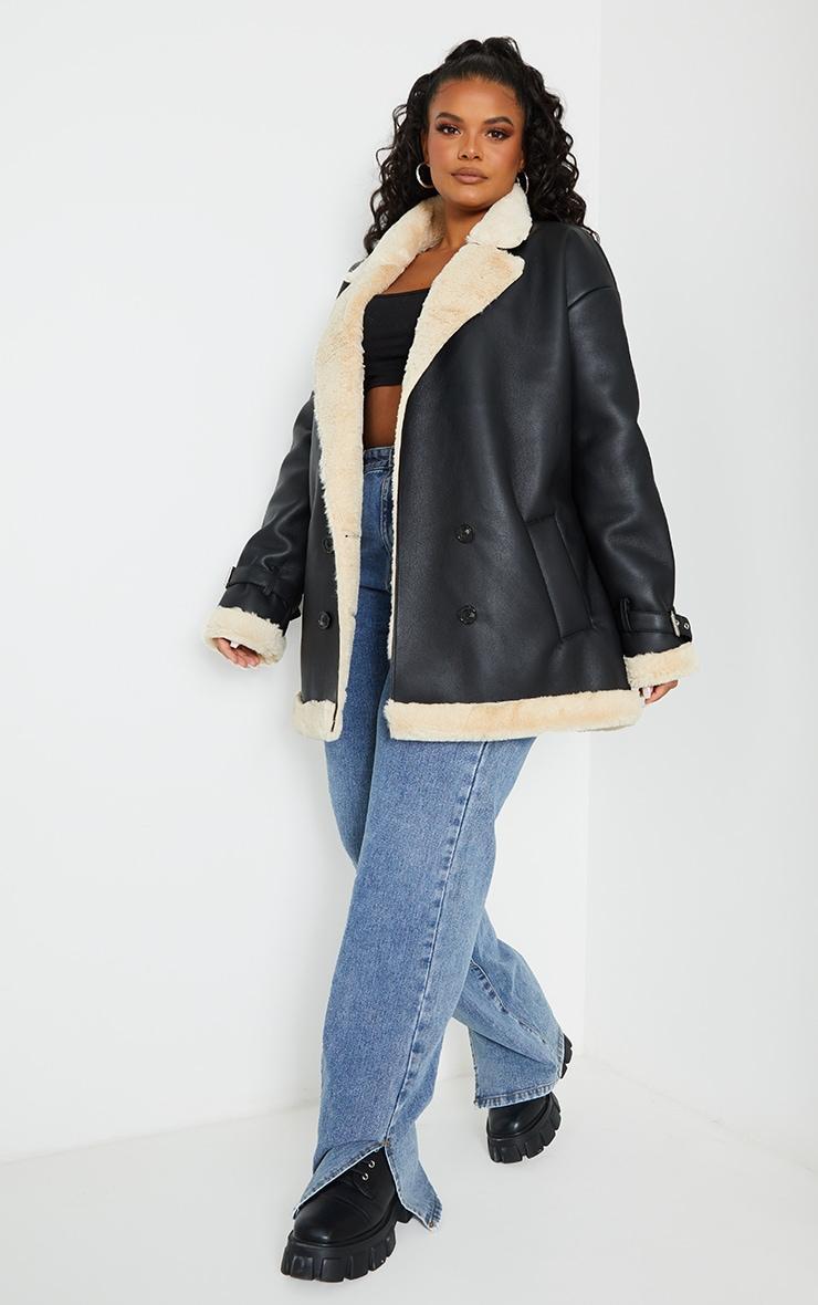 Plus Black PU Faux Fur Trim Vintage Style Coat 3