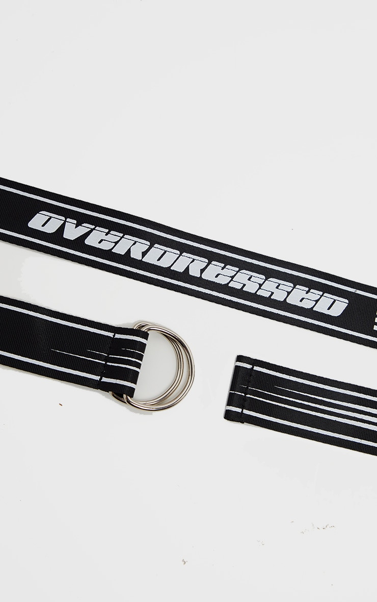 Black Overdressed Slogan Ring Tape Belt 3