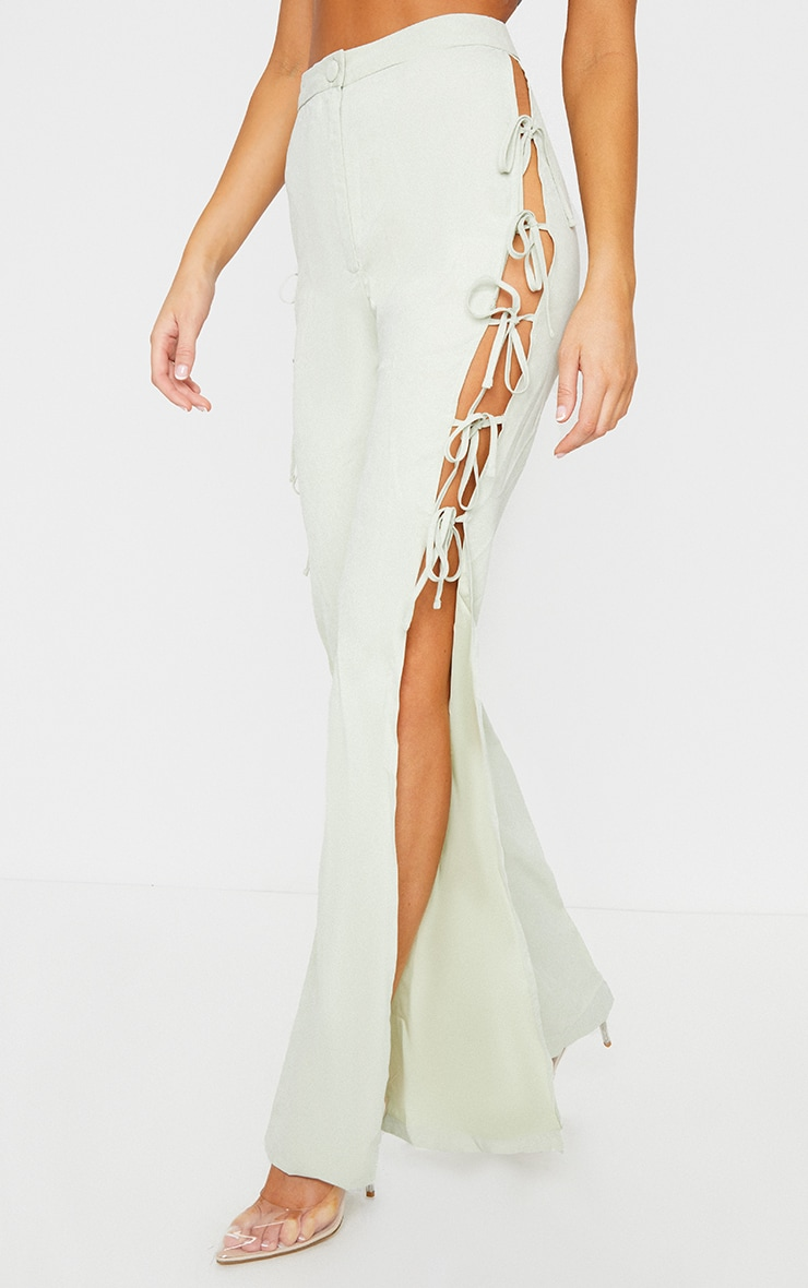 Sage Lace Up Detail Flared Trousers 2