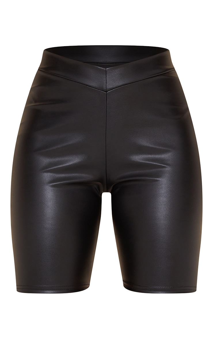 Black Faux Leather V Front Cycle Shorts 6