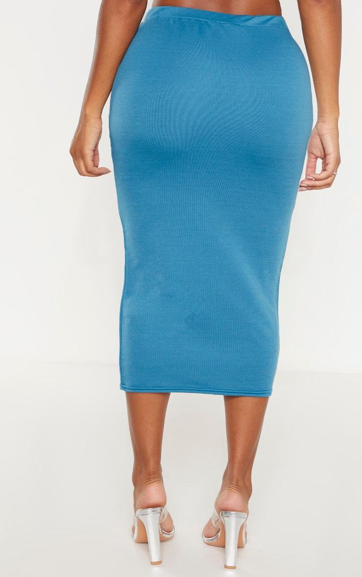 Shape Petrol Blue Sweat Drawstring Midi Skirt 4