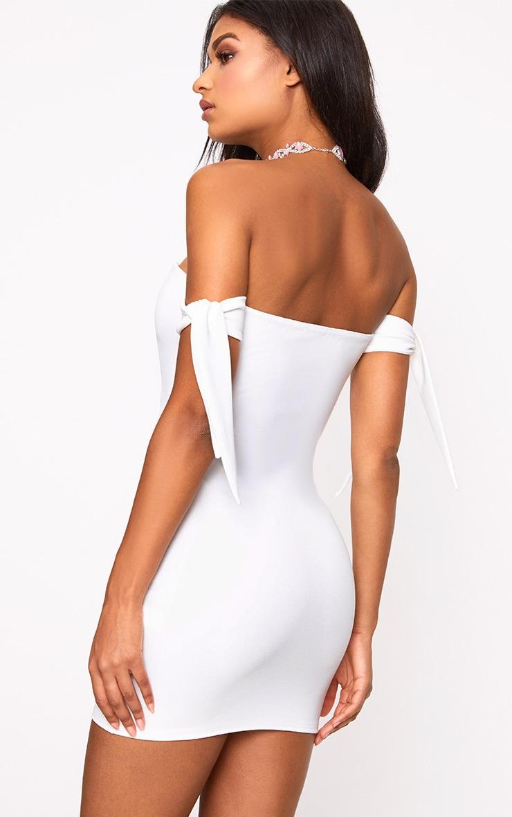 White Tie Sleeve Corset Bodycon Dress 2