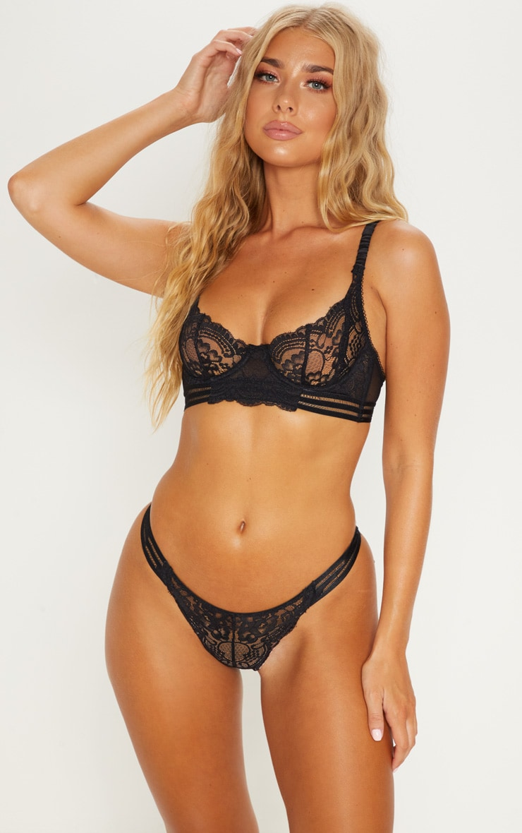 Black Lace Satin Strap Lingerie Set 1
