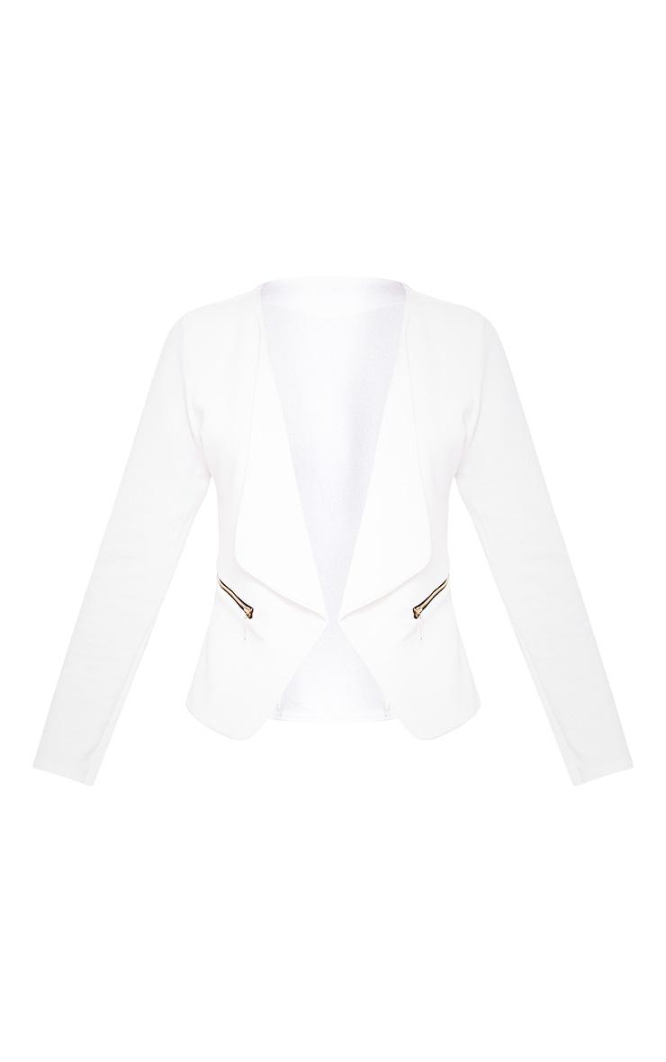 White Zip Pocket Blazer 3