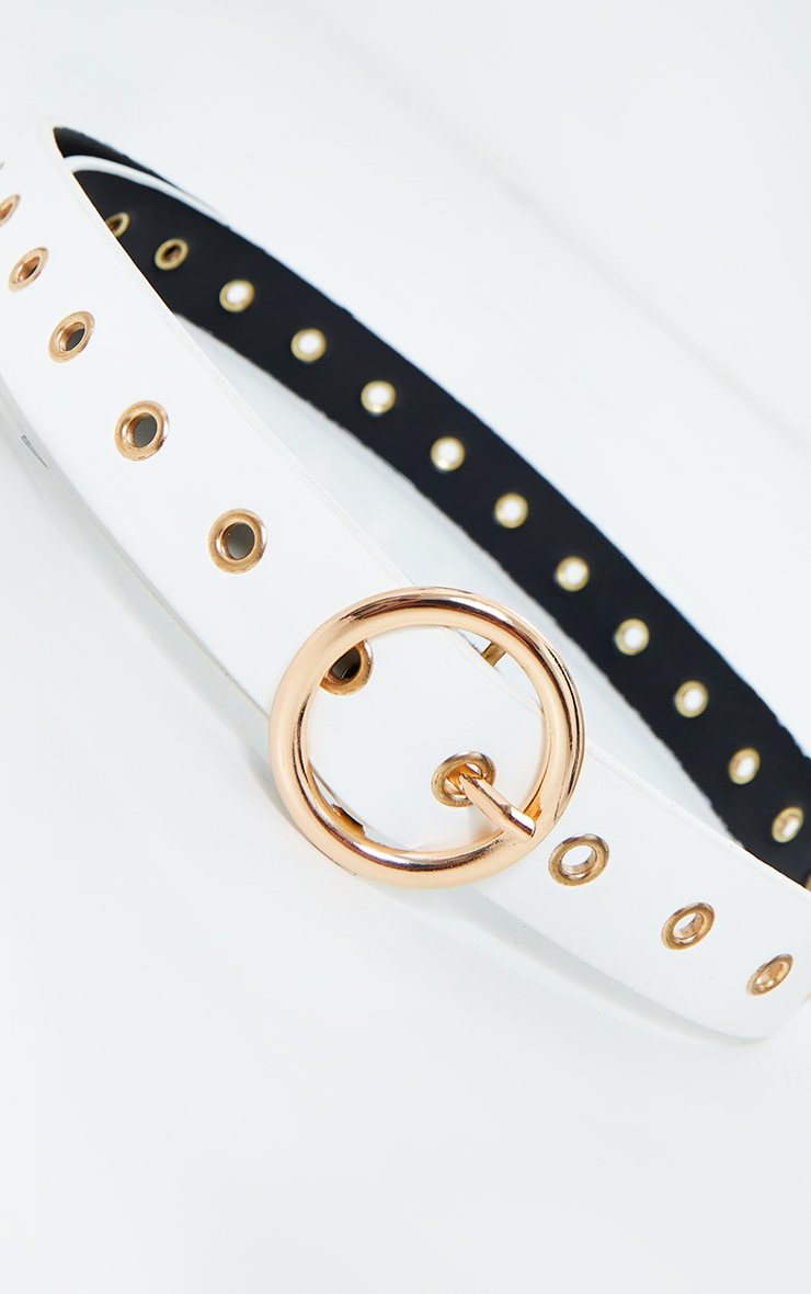 Gold Ring And Eyelet White Waist Belt 2
