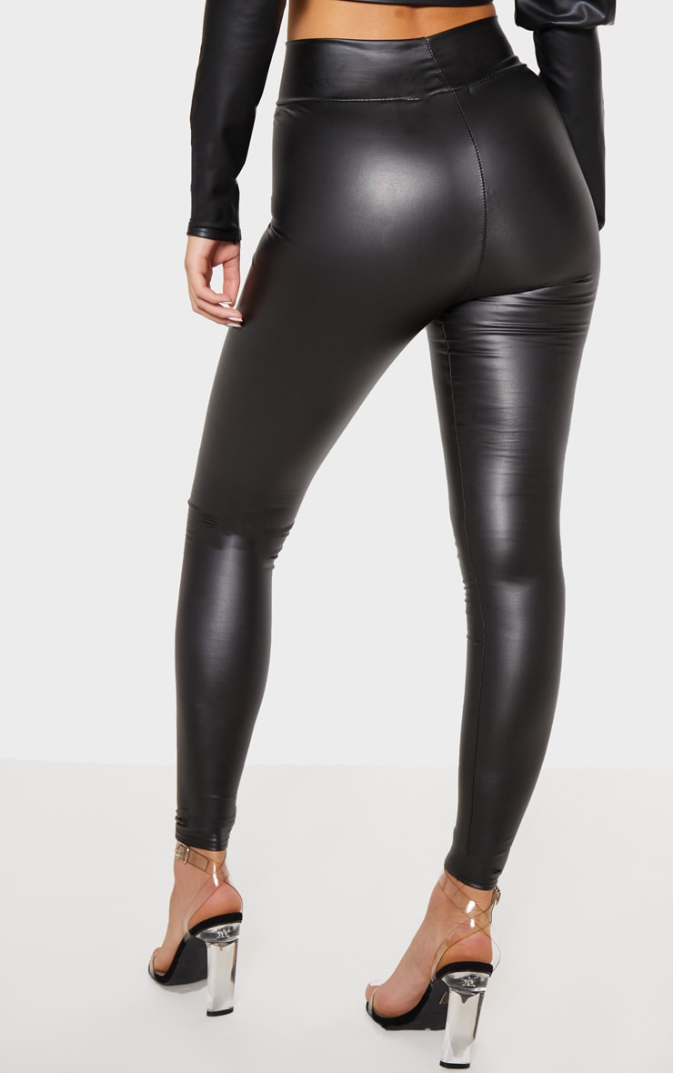 Black Wet Look High Waisted Legging 4