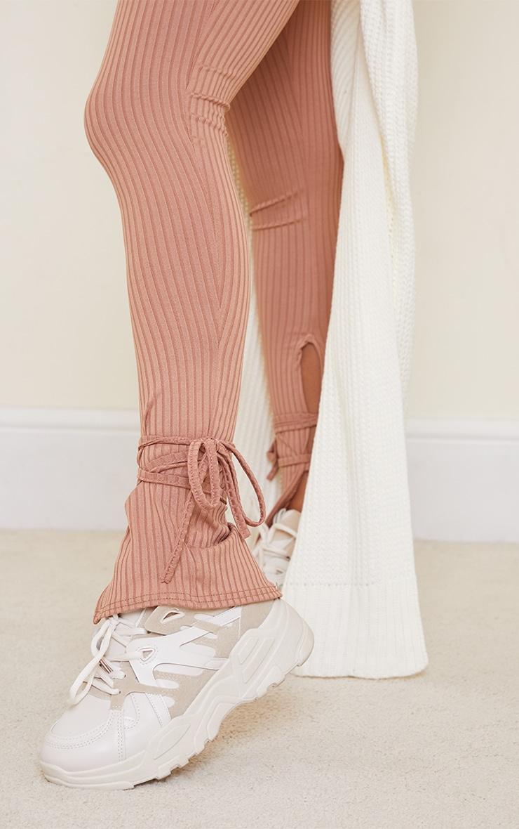 Camel Rib Split Tie Ankle Leggings 4