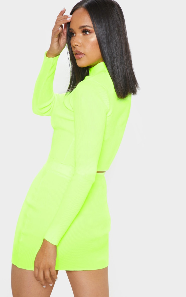 Neon Yellow Ribbed Knitted Top 2