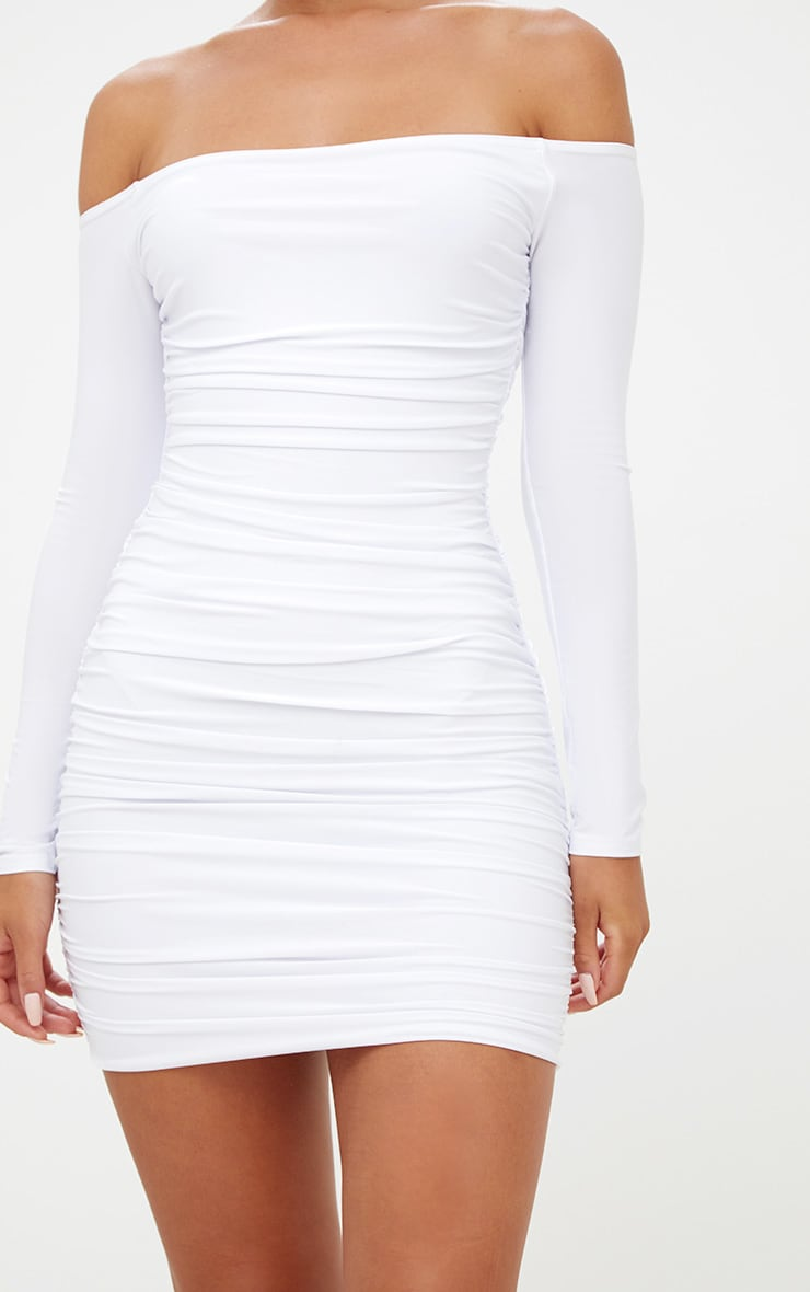 White Bardot Ruched Bodycon Dress 6