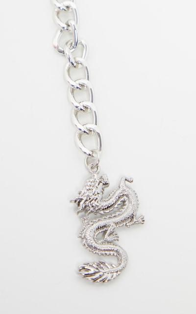 Silver Dragon Pendant Chain Belt