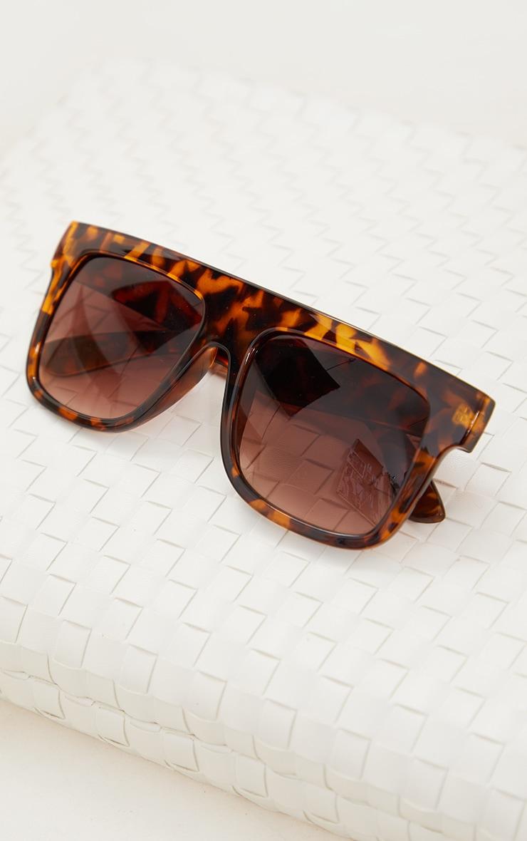 Brown Tort Square Frame Sunglasses 2