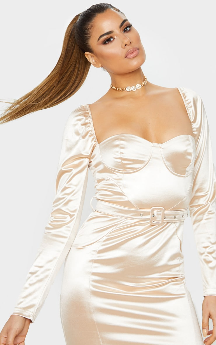 Tall Champagne Long Sleeve Satin Cup Detail Belted Mini Dress  4