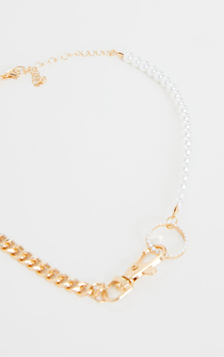 Gold Mixed Chain With Pearl Necklace 4
