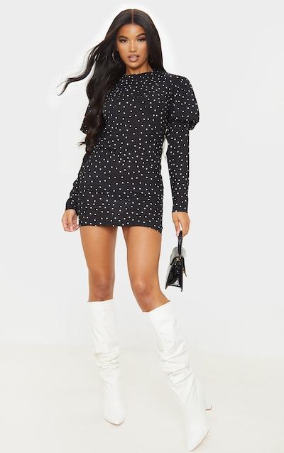 Black Polka Dot Long Sleeve Puff Shoulder Bodycon Dress
