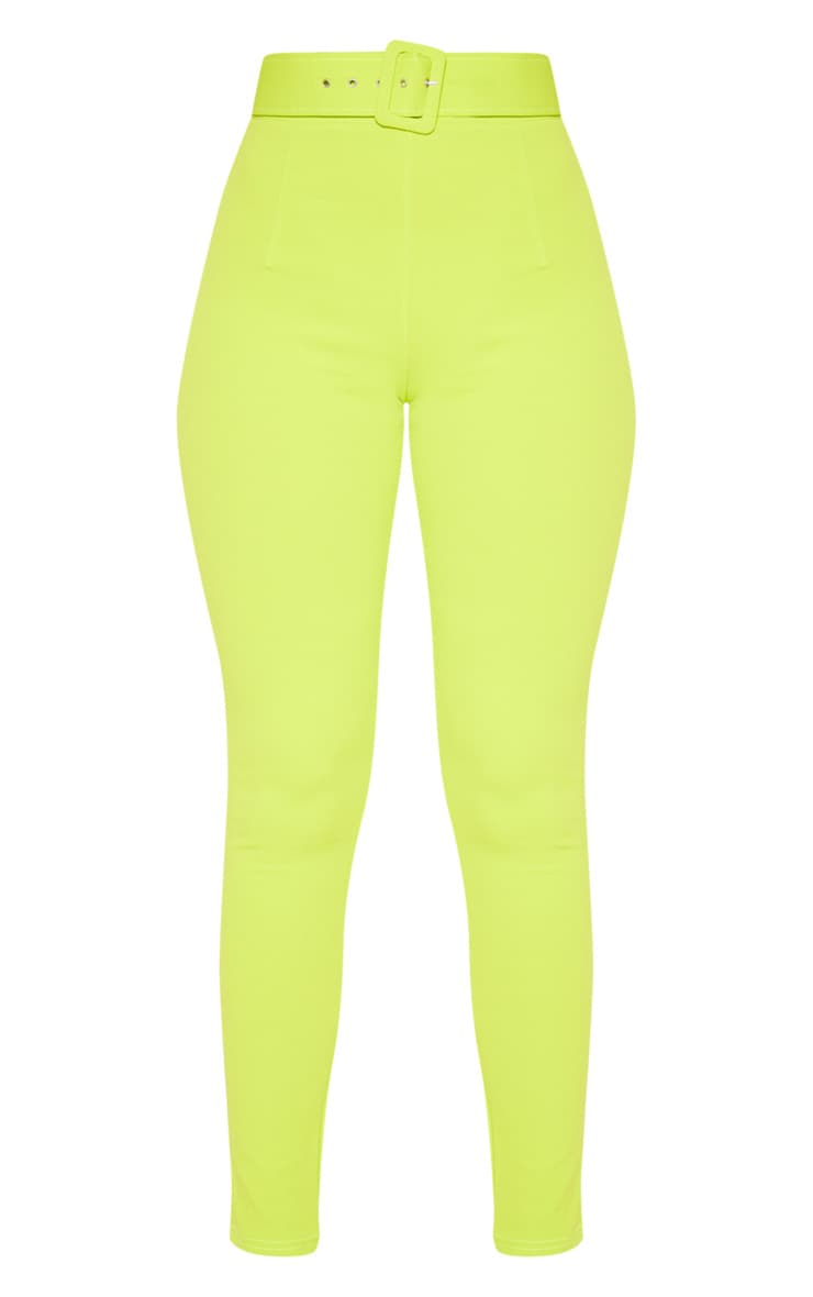 Neon Lime Belted Waist Skinny Trouser 3