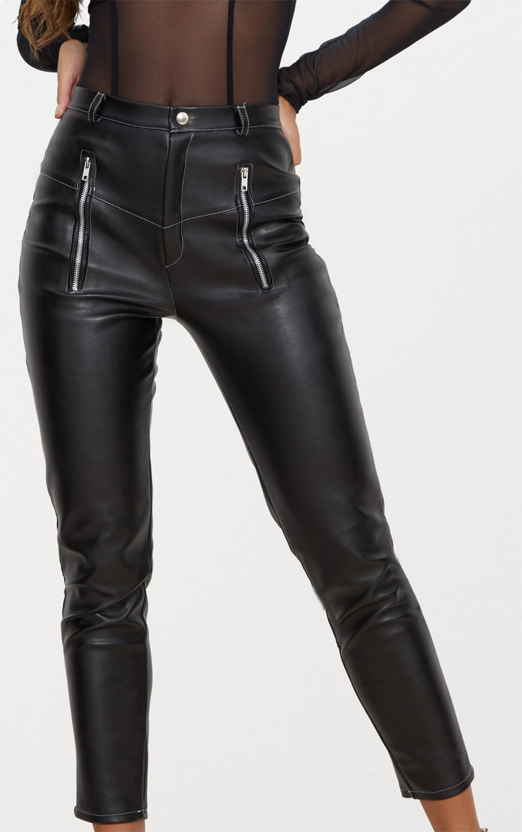 Black Faux Leather Contrast Stitch Pants 5